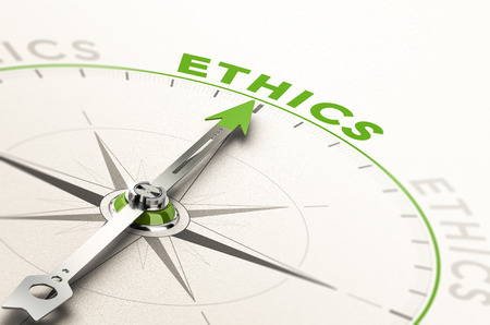 compass with needle pointing the word ethics. Conceptual 3d illustration of business integrity and moral