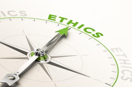 kompas met de naald naar het woord ethiek. Conceptuele 3D-afbeelding van zakelijke integriteit en morele