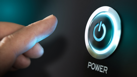 Finger about to press a power button. Hardware equipment concept. Composite between an image and a 3D background