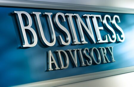 advisory: 3D illustration of a business advisory plaque with blue and grey tones. Horizontal image. Concept of advice services or consulting company Stock Photo