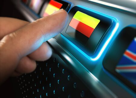 computers online: Finger pressing button with german flag on an multilingual interface. Concept of on-line languages courses and technology.  Composite between an image and a 3D background