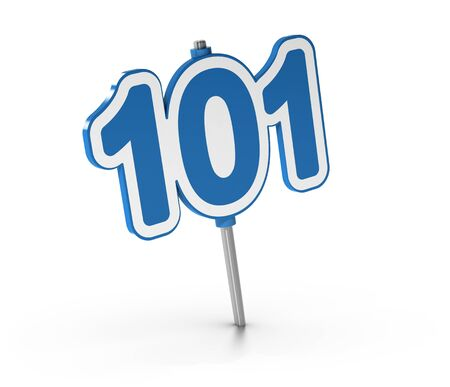 beginner: 3D illustration of the number 101 over white background. Symbol of introductory courses