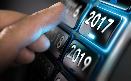 turn of the year: Finger about to change year to 2017 by pressing a button. Composite between an image and a 3D background Stock Photo