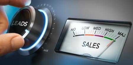 Mano girar un mando para ajustar número de clientes potenciales al máximo para generar más ventas. Imagen compuesta entre una fotografía y un fondo 3D. La orientación horizontal. Foto de archivo
