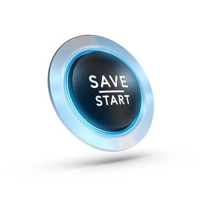 beginnings: 3D illustration of a push button with the text save start over white background. Square image