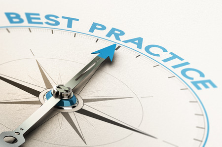 3D illustration of a compass with needle pointing the text best practice Stock Photo