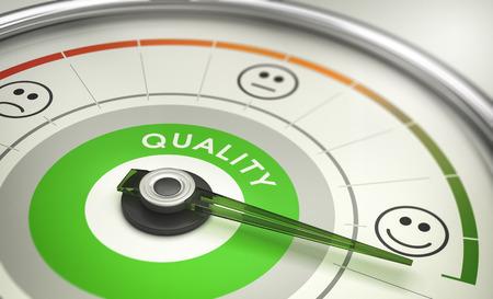 Ilustración 3D de una satisfacción del cliente CSAT sistema de encuestas con evaluación positiva. Concepto de empresas métricas. Foto de archivo