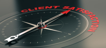 satisfaction: 3D illustration of a conceptual compass with needle pointing the text client satisfaction, Business or Marketing concept. Horizontal image, red and black tones.