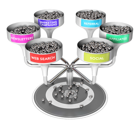 leads: 3D illustration of six funnels with many spheres and a target over white background, Business or marketing concept of multi channel leads generation Stock Photo