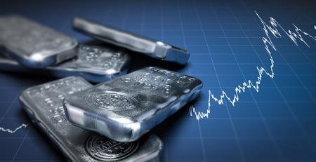Illustration 3D de barres de lingots d'argent sur un fond bleu avec un graphique croissant. Concept d'investissement en produits de base, image horizontale.