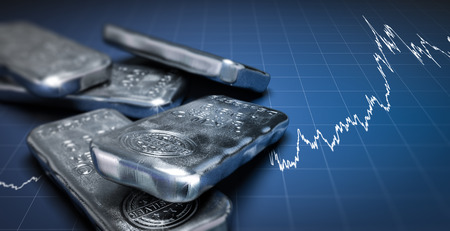 3D illustration of silver bullion bars over a blue background with growing chart. Commodities investment concept, horizontal image.