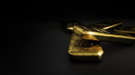 金地金バー左、水平方向の画像を copyspace と黒の背景の上の 3 D イラストレーション。金市場のコンセプトです。 写真素材