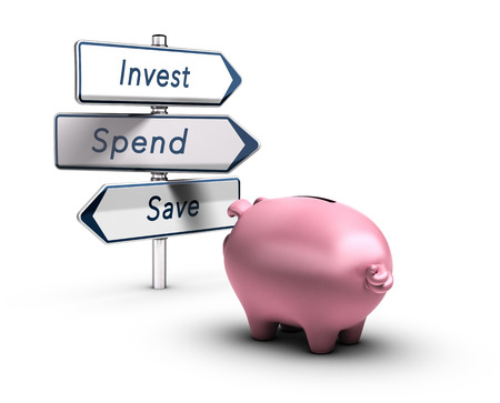 3D illustration of a piggy bank looking at road signs with the words invest, spend or save, Financial concept over white background