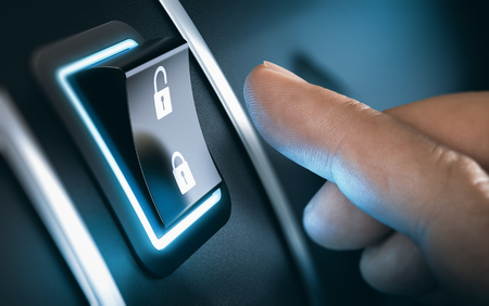 blue button: Finger about to press a car lock button. Black background