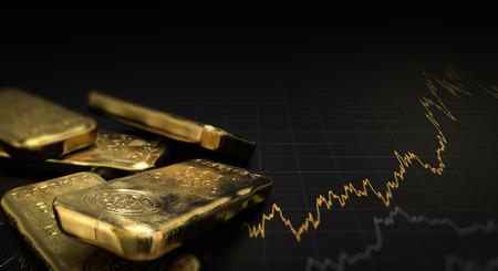 차트와 검은 배경 위에 금 덩어리 인의 3D 일러스트 레이 션. 금융 개념, 가로 이미지입니다. 스톡 콘텐츠