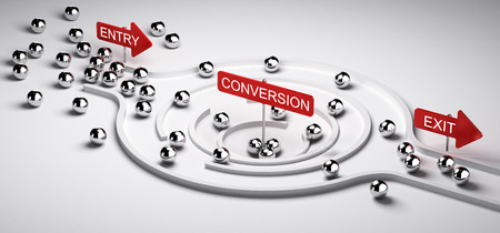 3D illustration of a conversion funnel with entry and exit, Business or Marketing concept of leads to sales ratio, horizontal image.