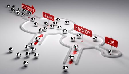 3D illustration of candidates recruitment process. Applicants enters by the left then pass three steps resume, interview and finaly get the job, horizontal image