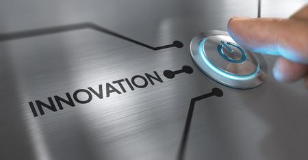 Vinger om een startknop te drukken met het woord innovatie aan de linkerkant. Samenstelling tussen een afbeelding en een 3D-achtergrond Stockfoto