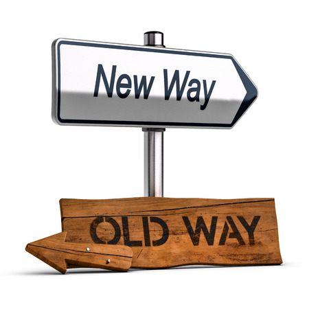 old and new: 3D illustration of two roard signs with text old and new way , Personal Development Concept