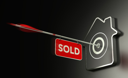 closing: 3D illustration of a home shaped target over black background and one arrow in the center with a sign Where It is the written word sold. Concept of real estate