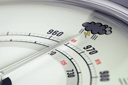 3D illustration of a barometer with needdle pointing a storm pictogram, horizontal image Stock Photo