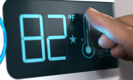 air: Finger touching a digital thermostat temperature controller to set it at 82 degrees fahrenheit. Composite between an image and a 3D background