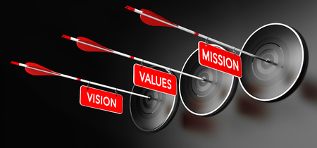 intentions: 3D illustration of arrows with red signs where it is written vision, mission and values hitting modern targets over black background. Company statements concept, horizontal image. Stock Photo