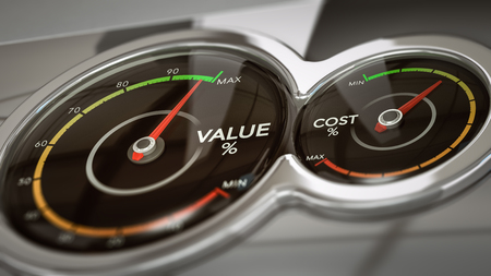 vs: Conceptual 3D illustration of two dials with needles pointing high value and low cost,  horizontal image. Concept of business analysis