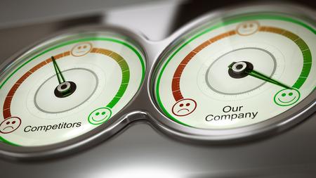 3D ilustración conceptual de dos medidores con los competidores de texto y nuestra empresa para medir el rendimiento, la imagen horizontal. Concepto de negocio de referencia o la publicidad comparativa