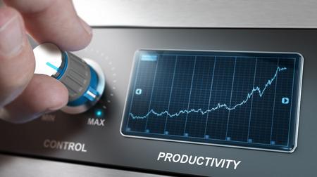 Handdraaiknop naar het maximum om de productiviteit te verhogen, Concept voor productiebeheer of verbetering. Samengesteld tussen een afbeelding en een 3D-achtergrond Stockfoto