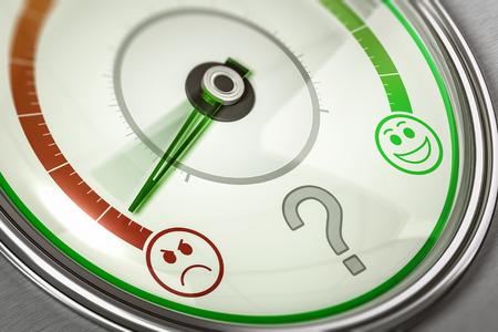 3D illustratie van tevredenheid feedback-systeem met naald naar de onderste positie. Business concept van ontevreden klanten. Horizontale beeld. Stockfoto