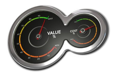 3D illustration of two dials with needles pointing to maximum value and an average cost. Business management concept over white background.