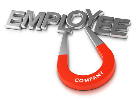 employee satisfaction: Horseshoe magnet attracting the word employee over white background, 3d illustration of staff retention program or attractive employer. Stock Photo