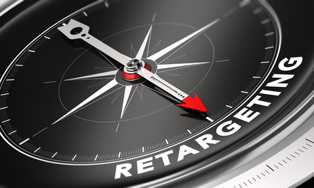 website words: 3D illustration of a compass with needle pointing the word retargeting over black background. Online advertising and behavioral remarketing concept. Stock Photo