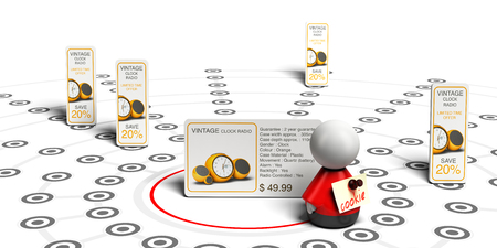 3D illustration, of behavioral retargeting principle over white background.