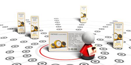 site backgrounds: 3D illustration, of behavioral retargeting principle over white background.