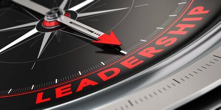3D illustratie van een kompas met naald die het woord leiderschap over zwarte achtergrond wijst. Concept van superioriteit. Stockfoto