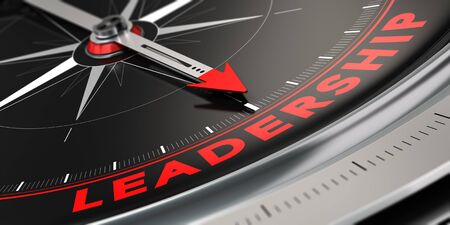 3D illustration of a compass with needle pointing the word leadership over black background. Concept of superiority. Stock Photo