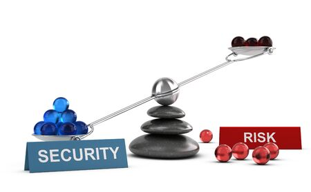 3D illustration of a seesaw containing balls with two words security and risk, Financial concept over white background