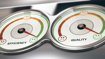satisfaction: 3D illustration of two dials with needle pointing the maximum quality and efficiency, Business or Marketing concept of customer relationship management, CRM.