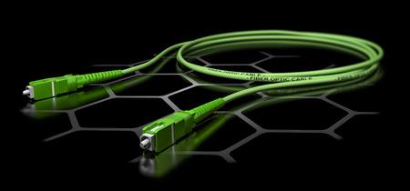 fiber cable: 3D illustration of a green fiber optic patch cord over black background. Broadband network equipment