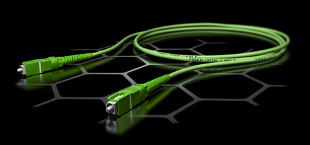 3D illustration of a green fiber optic patch cord over black background. Broadband network equipment