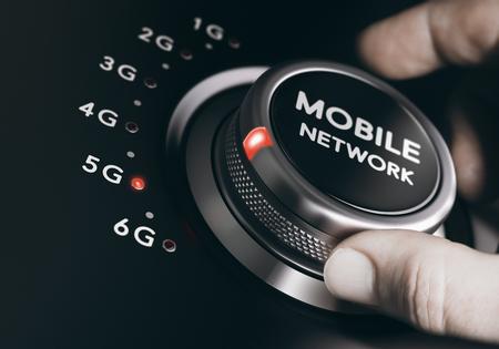 Man het draaien van het netwerk keuzeknop mobiele telefoon om de volgende generatie 5G. Telecommunicatiestandaarden concept. Samengestelde tussen een beeld en een 3D-achtergrond.