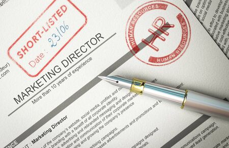 3D illustration of paper resume with pen and the words short-listed and HR printed with rubber stamp. Concept of successful application process. Stock Photo