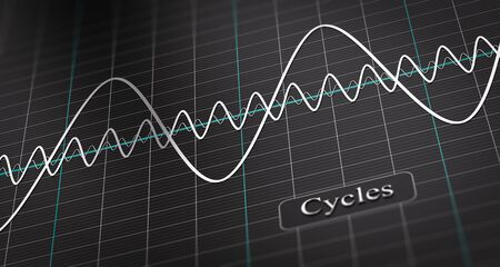 3D illustration of a diagram showing three waves over black background. Economic cycle Concept