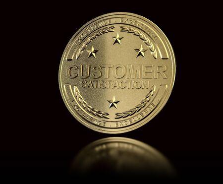 awarded: Golden customer satisfaction medal over black background. Concept of Customer Relationship Management. 3D illustration