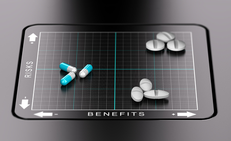 decisionmaking: 3D illustration of a matrix Risks versus benefits with pills and tablets Positioned on it. Evaluation of drugs, healthcare concept Stock Photo