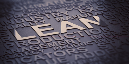 Many words over black background with reflection and blur effect, focus on the words lean and production. 3D illustration of production management. Foto de archivo