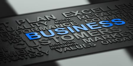 black background: Many business words over black background with reflection and blur effect, focus on the blue word. 3D illustration for corporate communication