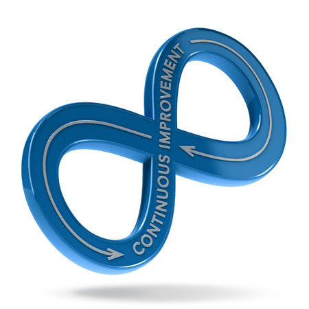 3D illustration of an infinite symbol with the text continuous improvement over white background. Lean management concept 스톡 콘텐츠